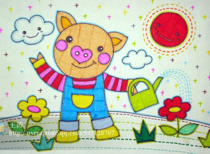 会享受的小猪儿童画怎样讲图片