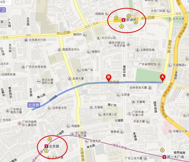 广州市越秀区文明路,最近的地铁口是哪个
