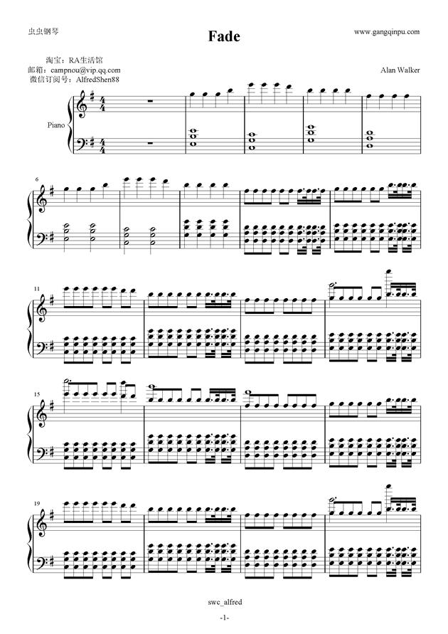 求alan walker 的faded的完整钢琴谱