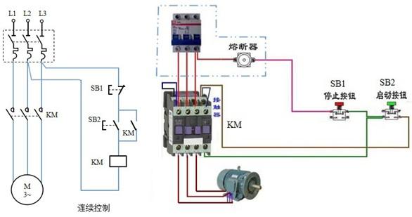 11千瓦三相异步电机要求安装一个接触器和一个按钮开关/怎么做?