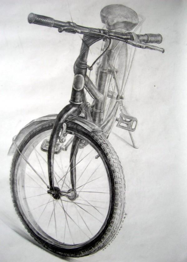 考级自行车临摹素描画