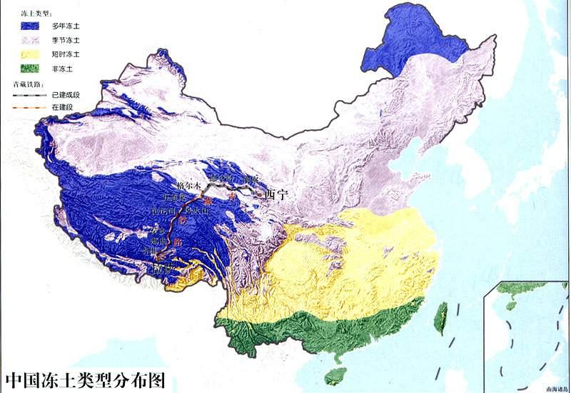 在我国,多年冻土主要分布在青藏高原,西部高山和东北的北部.图片