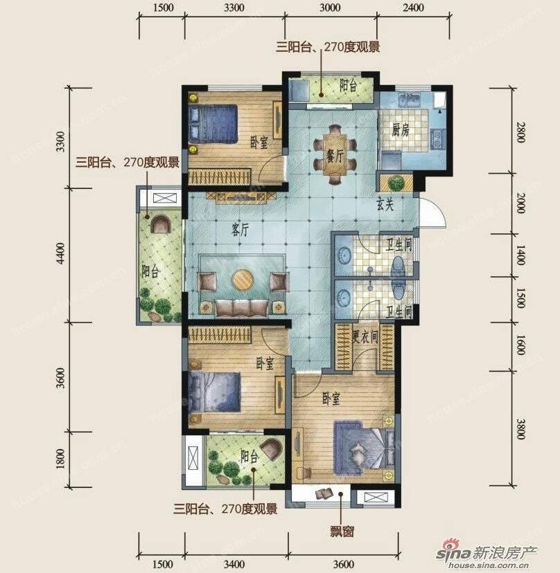 这个户型怎么样?坐北朝南的房子,阳台朝西,厕所好小