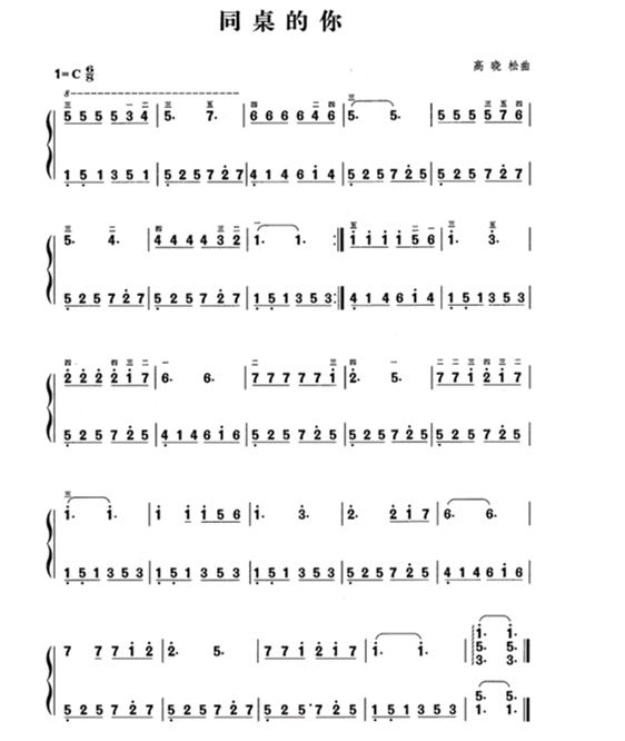 电子琴《同桌的你》左手伴奏简谱