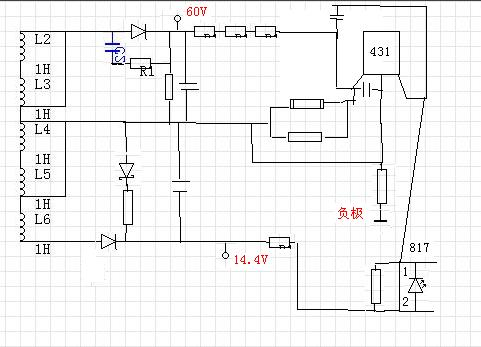 8a的充电器,想当成开关电源,lm324拆了,这是变压器次级部分的电路图
