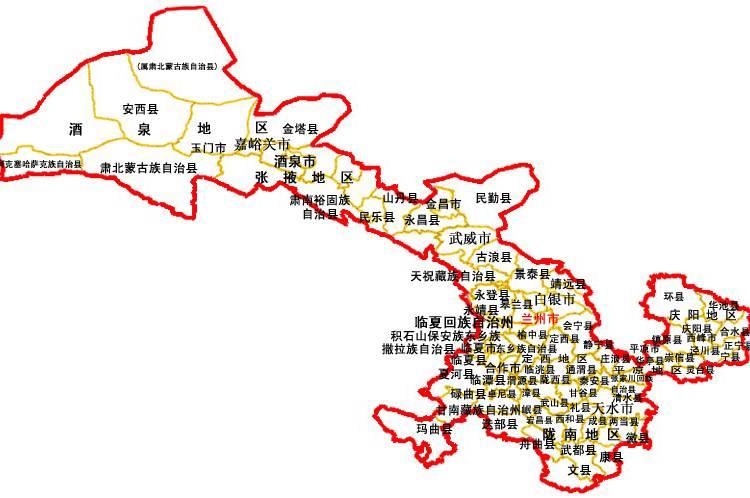 甘肃省高清地图全图_甘肃重点旅游景区分布图_重要景区地图库_地图窝