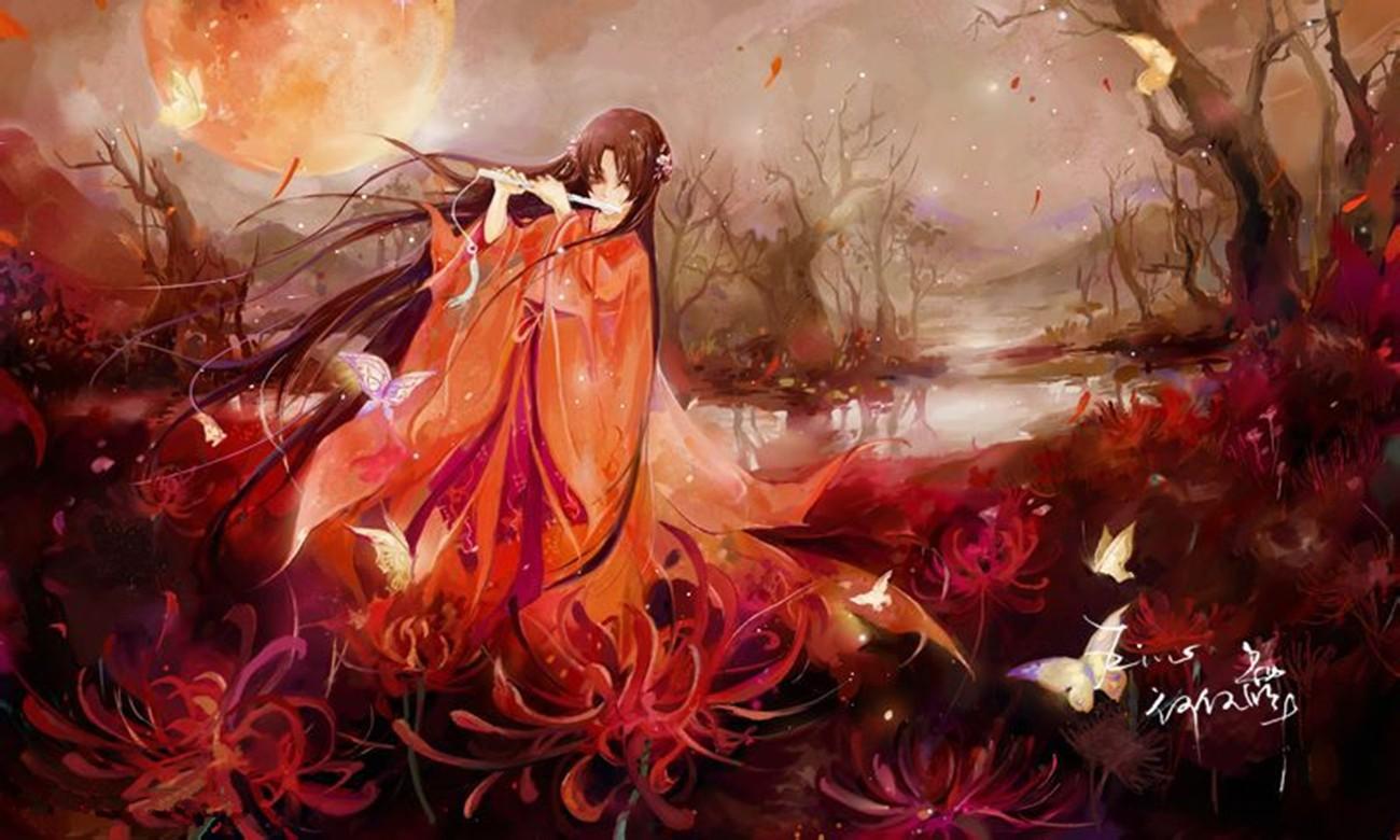 彼岸花红衣悲伤唯美古风少女
