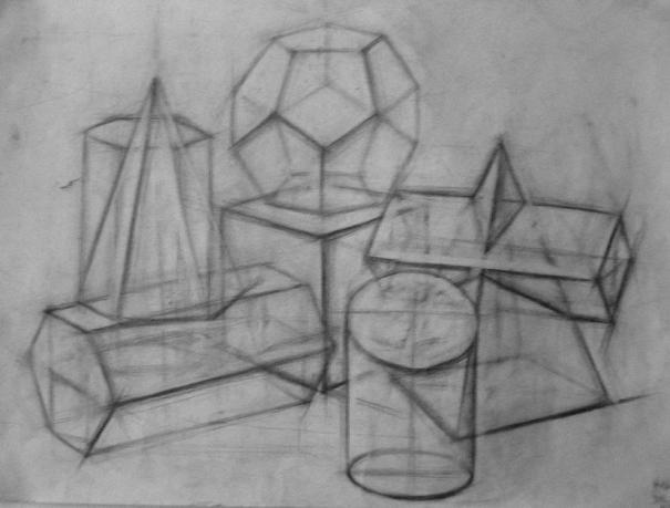 石膏几何体透视图画法