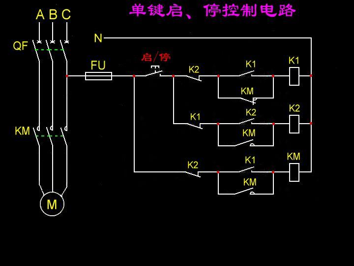 需要km2线圈带电时,先按红色按钮停止,km1断开,按下黑色按钮,km2通电并自锁,km2线圈带电,串联在km1回路的km2常闭触点断开,保证km2与km1也不一样时带电。需要km2线圈带电时,先按红色按钮停止,km1断开,按下黑色按钮,km2通电并自锁,km2线圈带电,串联在km1回路的km2常闭触点断开,保证km2与km1也不同时带电。当线圈断电时,吸力消失,动铁芯联动部分依靠弹簧的反作用力而分离,使主触头断开,和主触点机械相连的辅助常闭触点闭合,辅助常开触点断开,从而切断电源。 这种依靠接触器自身