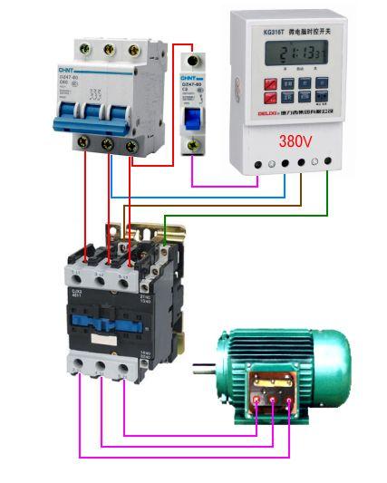时钟控制器和38ov接触器如何接线