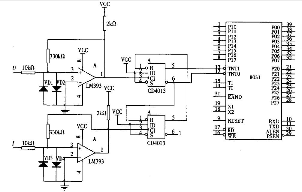 用lm393构成过零比较器,经过cd4013接单片机,这个电路