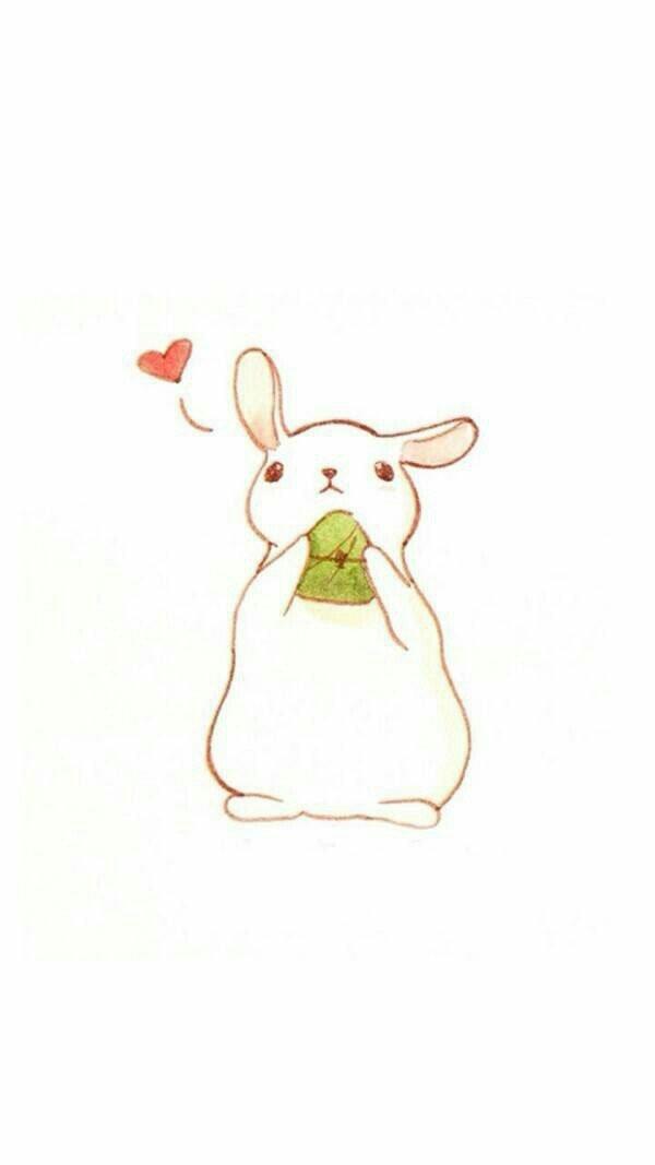 动漫萌物吃西瓜的简单手绘