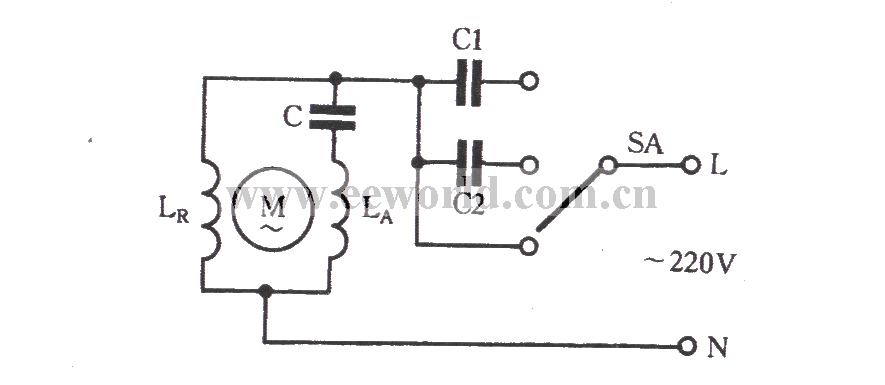370w 220v交流电机 电容为100uf,怎样实现调速