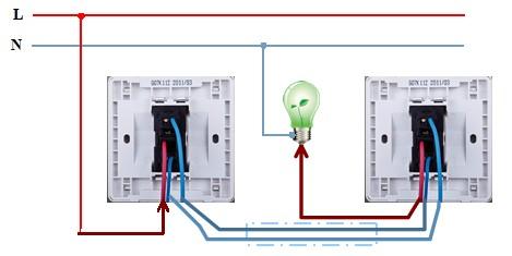 开关有3个接线孔,其中l是公共端,接电源火线进线和开关至电灯的火线