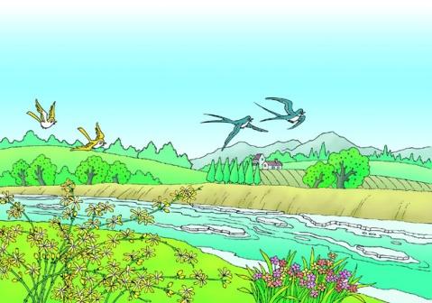春天的小河边是什么样的简笔画图