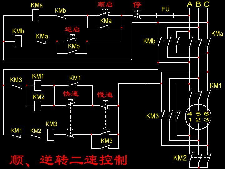 急求双速电机正反转控制原理图