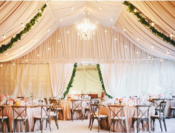 婚礼现场帷幔吊顶如何布置?图片