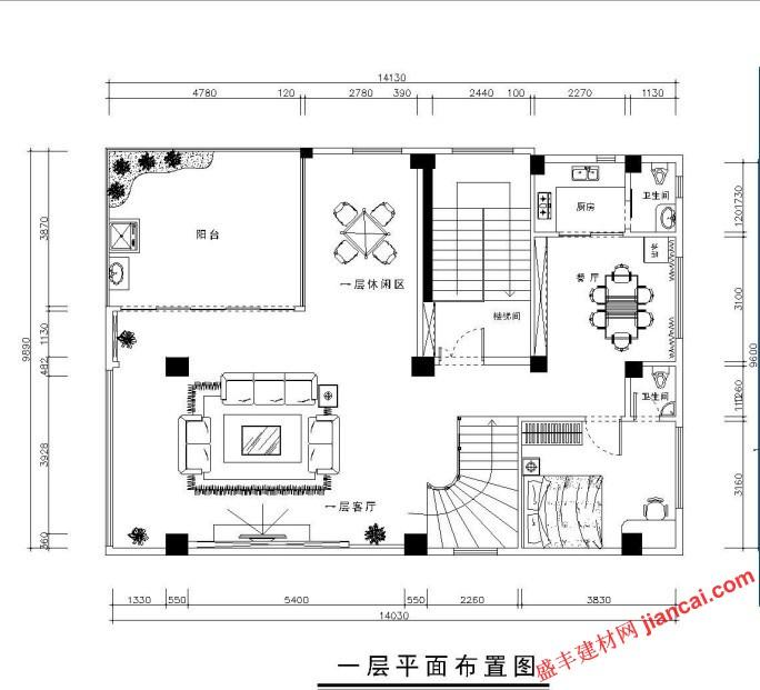 复式楼房平面图怎么画图片