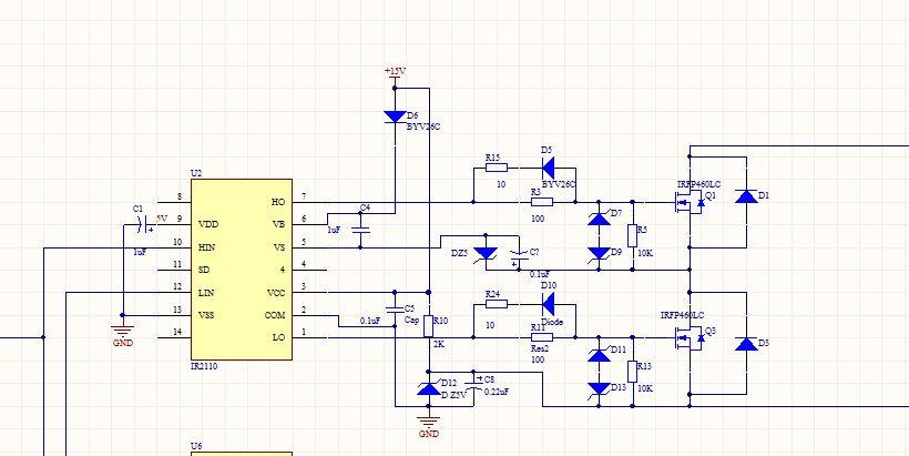 ir2110 驱动全桥电路.当逆变的直流电压为24v时,ir2110正常工作.