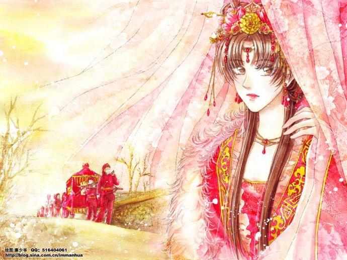 跪求一张图片:手绘古代女,穿着连帽带毛领的红斗篷,双手交叉在胸前,侧