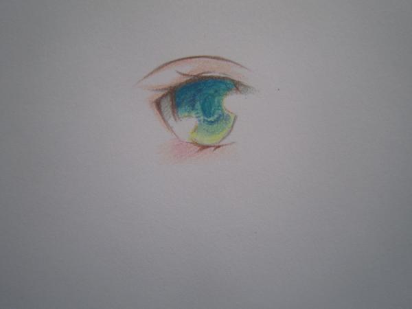 求动漫眼睛彩铅的上色过程