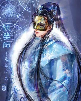 古风手绘面具图片半脸