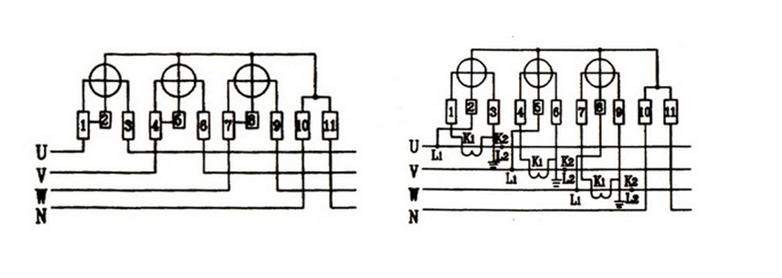 三相四线电度表不带互感器的接法: ,三相四线电表接线1,4,7接三相