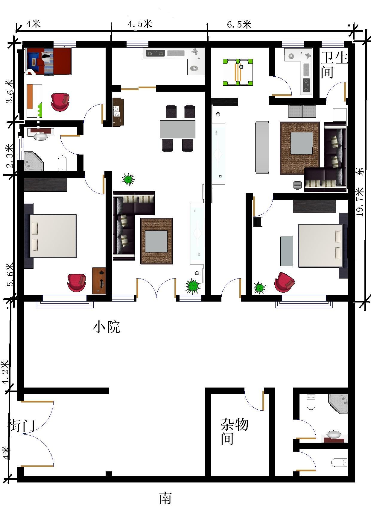 5米另外还有8米x15米小院这是新农村房屋规划本人不懂设计前几天下载图片