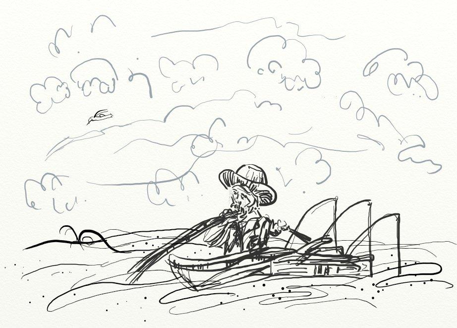 黑白简单,不过有点乱,不过还是老人与海的故事图片