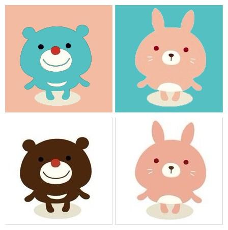 急寻找一个情侣头像,一只蓝色的小熊和一只粉色的兔子
