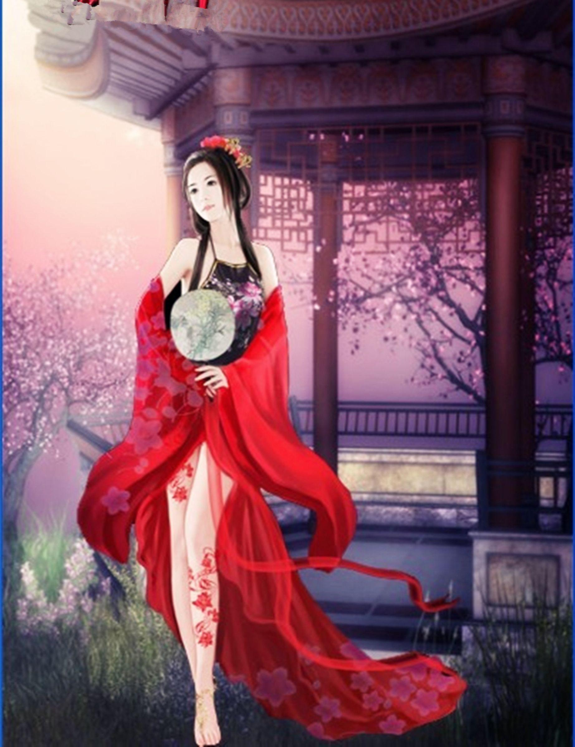 求一张红色古装女子手绘图,身旁有一个男子的