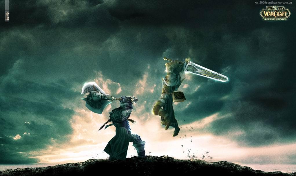 求一张魔兽世界桌面(人类大元帅战士和兽人高阶督军战士对砍)