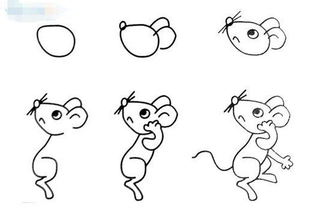 画十二生肖的技巧:抓住12种动物的特征绘画,比如老鼠尖嘴细尾,牛的