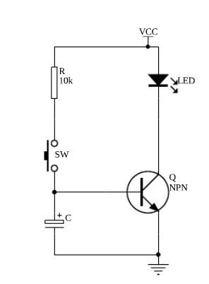 求个延时断电电路,用三极管,电容器,电阻等简单部件组成,直流低压环境