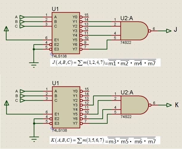 数字逻辑题 请用74ls138译码器实现下列函数