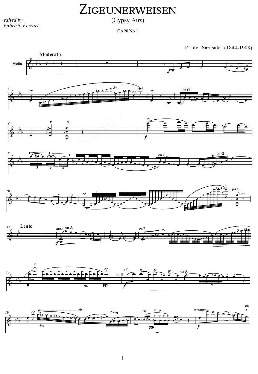 《流浪者之歌》的五线谱(小提琴)