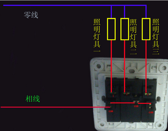 双开单控开关 后面三个孔怎么接线啊 最好有个实物图