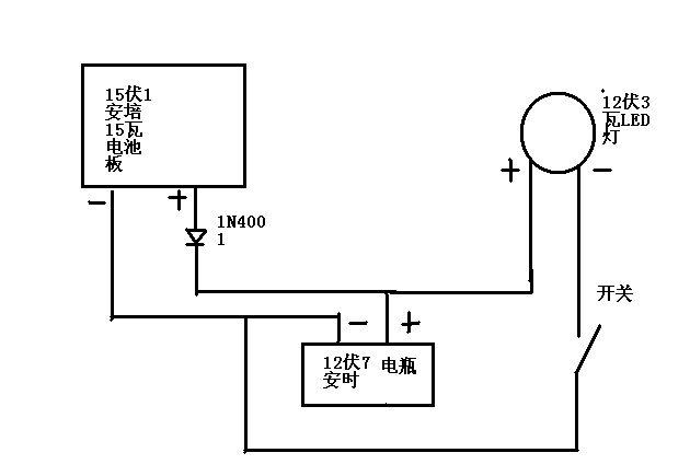12v3w的led灯的驱动电路,太阳能充电