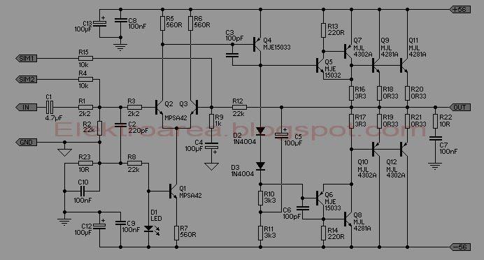 求最简单的500w功放电路图