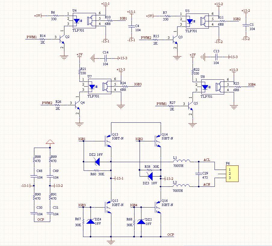 这是通过单片机产生spwm的逆变器,pwm1和pwm2就是接在pic单片机的