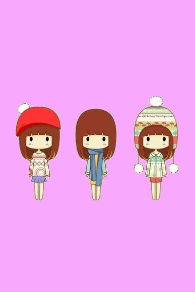 三个可爱卡通的女孩的图片.背景是粉色的!