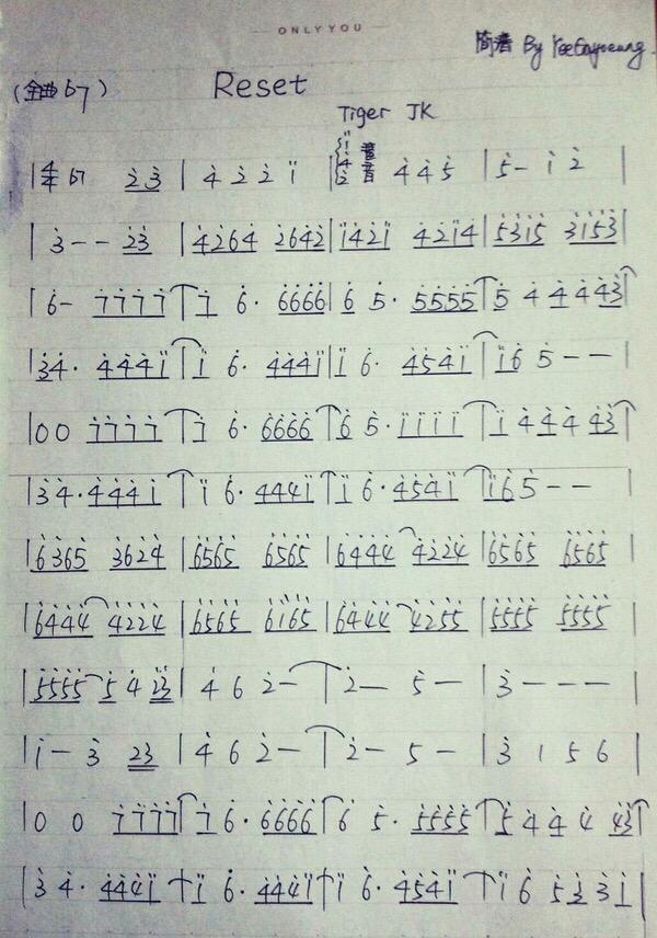 reset钢琴简谱c大调图片