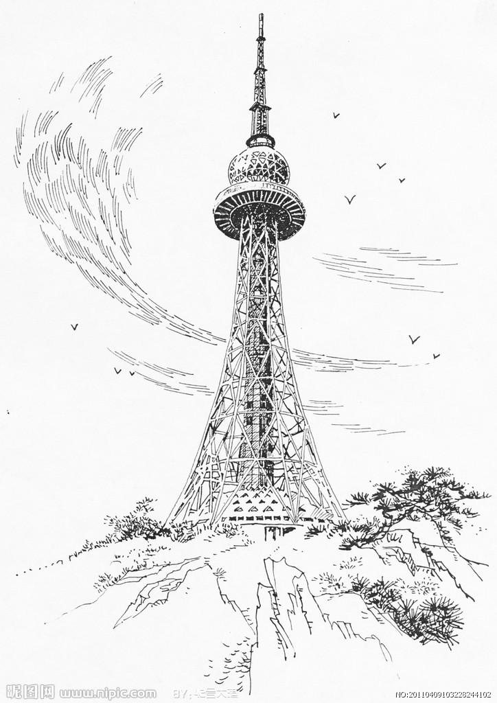 简笔画 建筑 手绘 塔 线稿 724_1024 竖版 竖屏