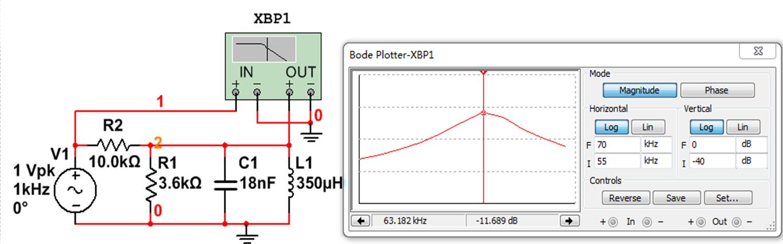 multisim仿真rlc并联谐振电路,波特图示仪应该怎么连