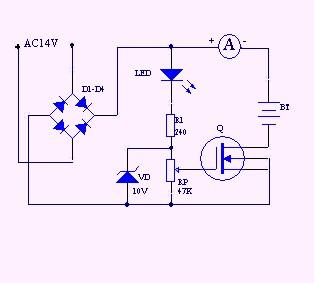 想自制电瓶充电器,要求14v不变,电流可调都需要什么元件和电路图.