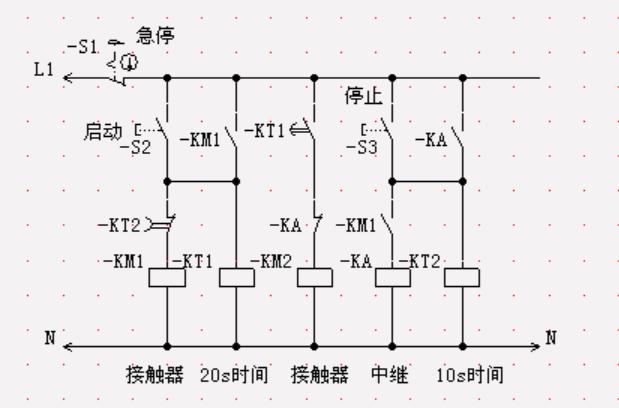 求一张电路图,有两台电机m1和m2,启动时m1先动,20秒后