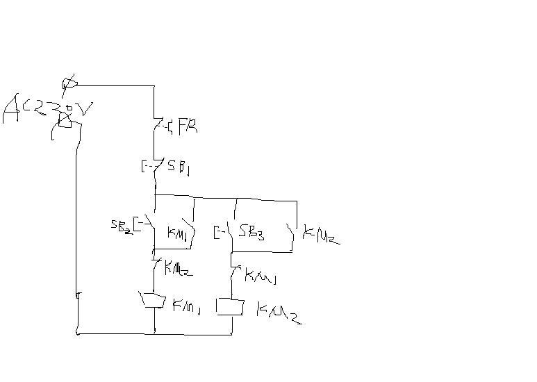 用两个接触器控制三相电机正反转线路图怎么画