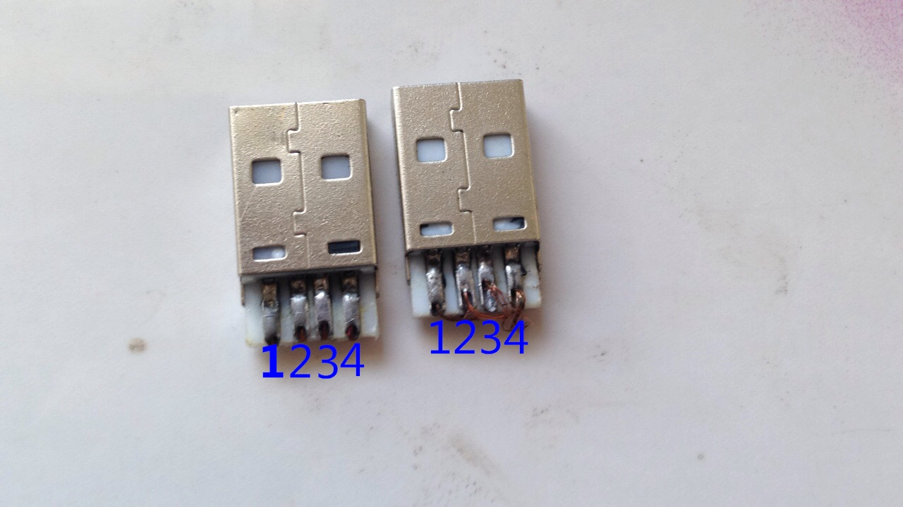 双公头usb线焊接方法