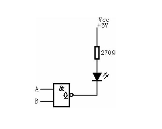 用oc门驱动发光二极管的电路图