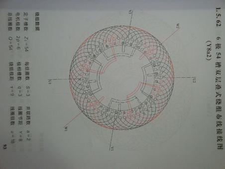 三相异步电动机54槽两路接线图: 交流三相异步电动机绕组分类 单层